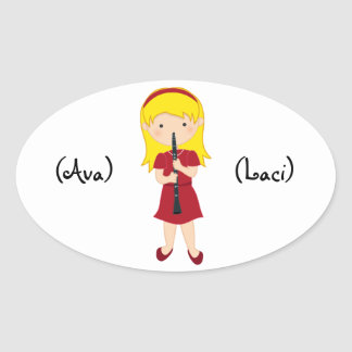Personalized Kids Stickers-Girl Playing Clarinet Oval Sticker