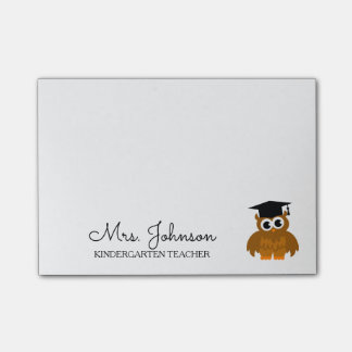 Personalized kindergarten school teacher cute owl post-it notes