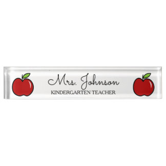 Personalized kindergarten teacher red apple icon desk name plates