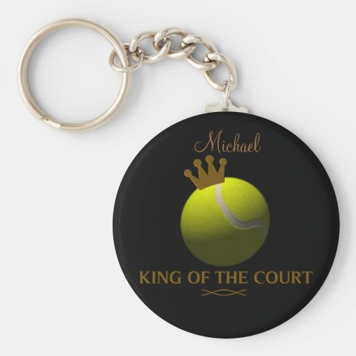 Personalized  King of The Court Tennis Keychain