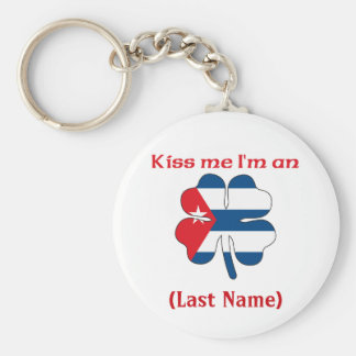 Personalized Kiss Me I'm Cuban(An), (Last Name) Basic Round Button Key Ring