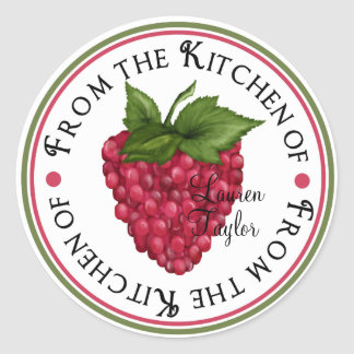 Personalized Kitchen Baking Stickers- raspberry Classic Round Sticker