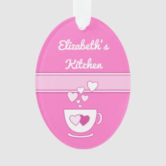 Personalized kitchen coffee quote hot pink ornament