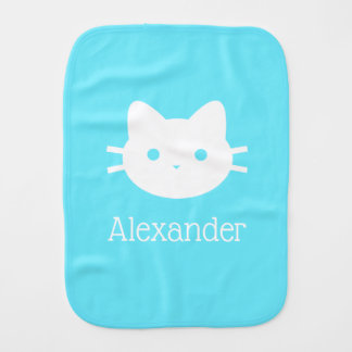 Personalized Kitty Cat Blue Burp Cloth