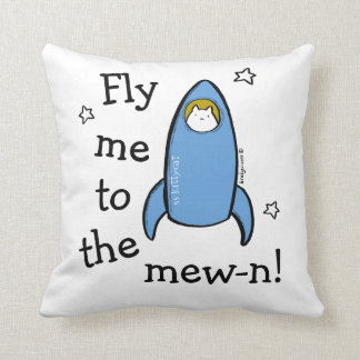 Personalized Kitty Cat Space Rocket Adventures. Cushion