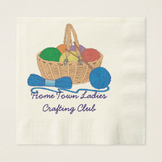 Personalized Knitting Colorful Yarn Basket Disposable Serviettes