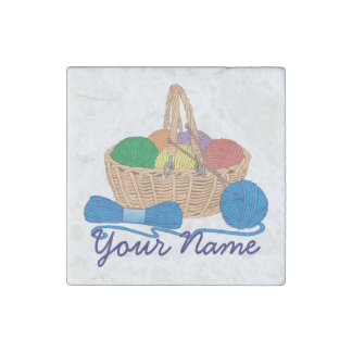 Personalized Knitting Colorful Yarn Basket Stone Magnet