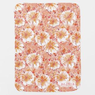 Personalized KOMBUCHA-CHA Peach Tropical Hibiscus Buggy Blanket