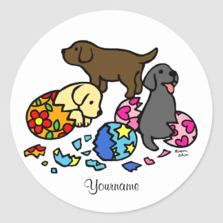 Personalized Labrador Puppies from Eggs Classic Round Sticker