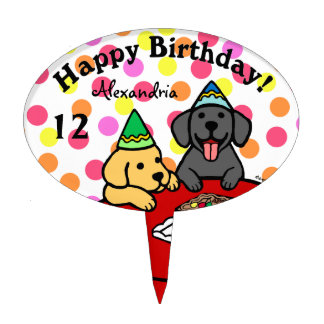 Personalized Labrador Puppies Happy Birthday Oval Cake Toppers