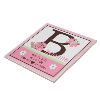 Personalized Ladybug Lullaby 2 Birth Info Tile