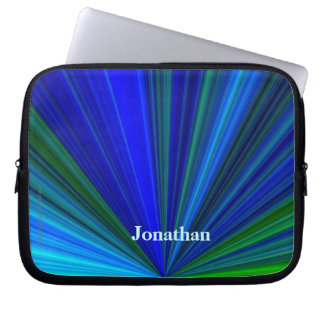Personalized Laptop Computer Sleeve Blue Starburst