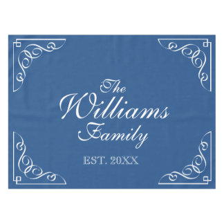 Personalized last name blue and white table cloth