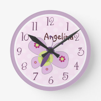 Personalized Lavender Butterfly Clock