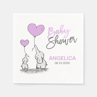 Personalized LAVENDER Elephant Mom & Baby Shower Disposable Serviettes