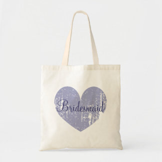 Personalized lavender heart bridesmaid tote bags