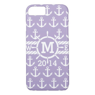 Personalized Lavender Nautical Anchors Pattern iPhone 7 Case