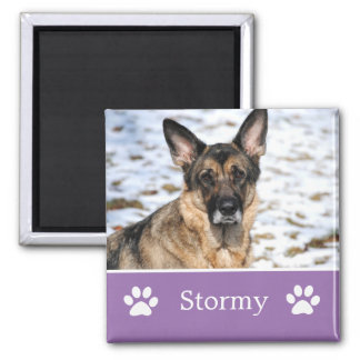 Personalized Lavender Pet Photo Magnet