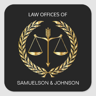 Personalized Law Lawyer Justice Scale Black Gold Square Sticker