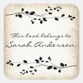 Personalized Leafy Vine Design Bookplate Sticker