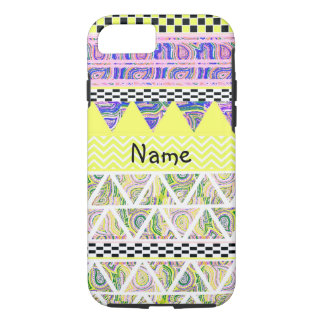 Personalized Lemon Lilac Funky Boho Tribal Stripe iPhone 8/7 Case
