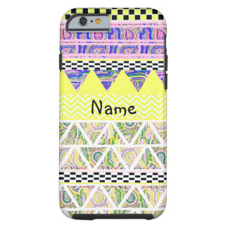 Personalized Lemon Lilac Funky Boho Tribal Stripe Tough iPhone 6 Case