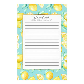 Personalized Lemons and Green Leaves on Blue Gold Stationery