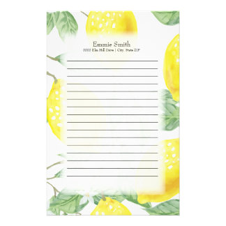 Personalized Lemons and Green Leaves on White Stationery