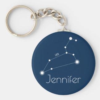 Personalized Leo Zodiac Constellation Key Ring