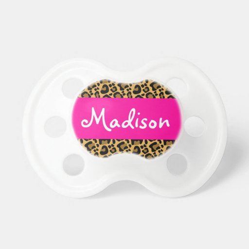 Personalized Leopard Hot Pink Pacifiers