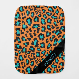 Personalized Leopard Orange Black Aqua Burp Cloth