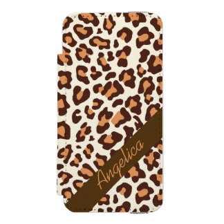 Personalized Leopard Print Brown Tan Cream Case Incipio Watson™ iPhone 5 Wallet Case