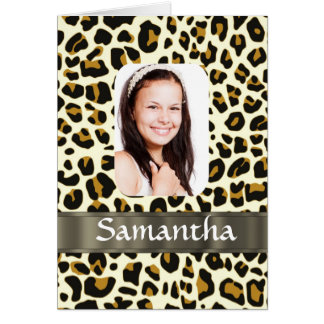 Personalized leopard print card