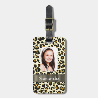 Personalized leopard print luggage tag