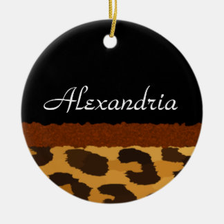 Personalized Leopard Print Merry Christmas Christmas Ornament