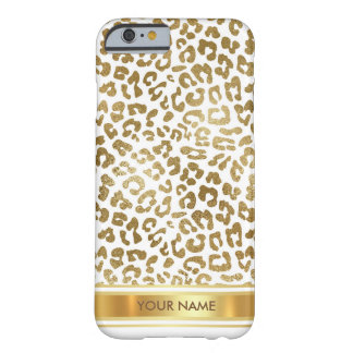 Personalized Leopard Safari Skin White Gold Glam Barely There iPhone 6 Case