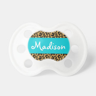 Personalized Leopard Teal Blue Pacifier