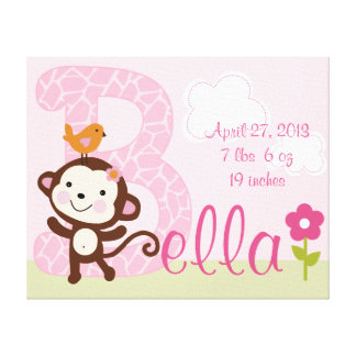 Personalized Letter B Jungle Monkey Girl  Canvas Canvas Print