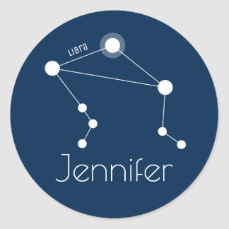 Personalized Libra Zodiac Constellation Classic Round Sticker