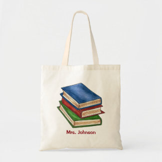 Personalized Library Book Books Teacher Gift Tote Budget Tote Bag