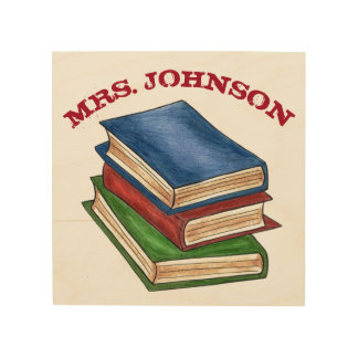 Personalized Library Book Stack Teacher School Wood Wall Art