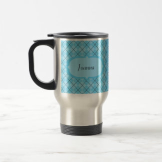 Personalized Light Blue Argyle Travel Mug