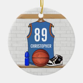 Personalized Light Blue Orange Basketball Jersey Christmas Ornament