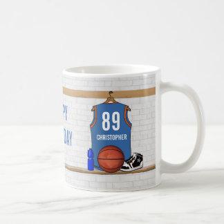 Personalized Light Blue Orange Basketball Jersey Coffee Mug