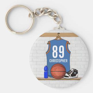 Personalized Light Blue Orange Basketball Jersey Basic Round Button Key Ring
