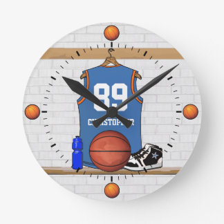 Personalized Light Blue Orange Basketball Jersey Round Clock
