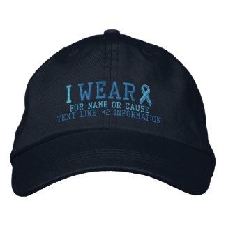 Personalized Light Blue Ribbon Awareness Embroidered Hat