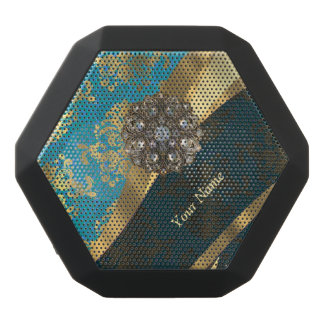 Personalized light blue vintage damask pattern black bluetooth speaker