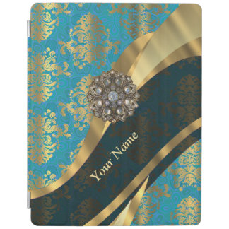 Personalized light blue vintage damask pattern iPad cover