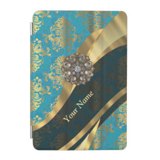Personalized light blue vintage damask pattern iPad mini cover